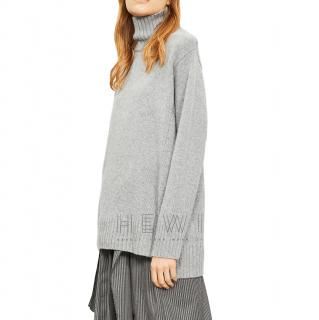 Joseph Stepped-hem Cashmere Turtleneck Jumper in Gray