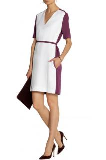 Victoria Victoria Beckham Belted two-tone crepe dress