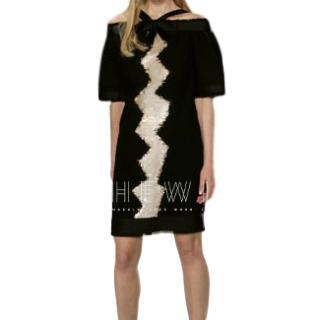 Chanel Tweed Sequin Embellished Black Dress