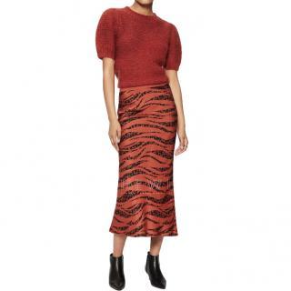Anine Bing Bar Silk Skirt in Zebra Rust