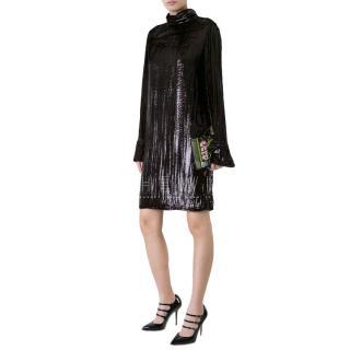 Nina Ricci High Neck Lame Draped Dress