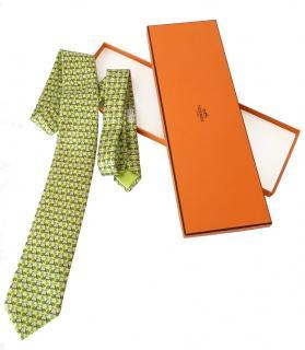 Hermes Green Silk Printed Tie
