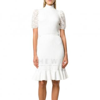 Giambattista Valli Ribbed Lace Sleeve White Dress
