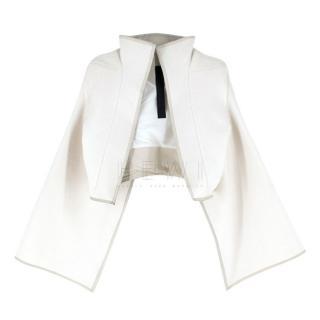 Gareth Pugh Ecru Structured Wool Cropped Jacket