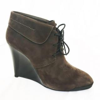 Tod's Brown Suede Wedge Ankle Boots