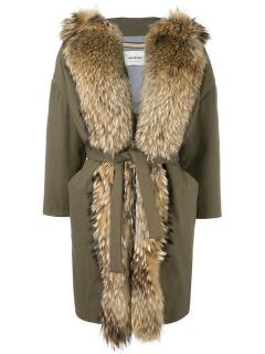 Ava Adore Khaki Belted Raccoon Fur Trim Coat
