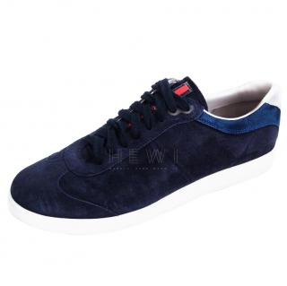 Prada Men's Blue Suede Sneakers