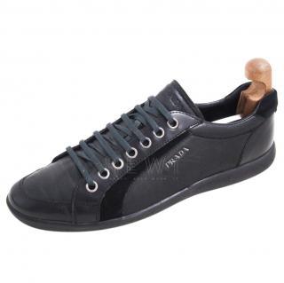 Prada Black Leather & Suede Sneakers