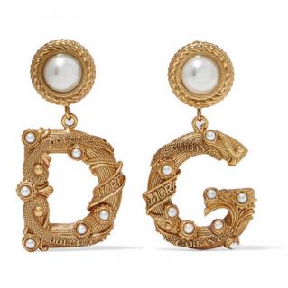 Dolce & Gabbana Gold-tone faux pearl clip earrings