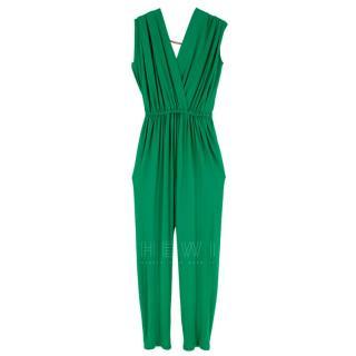 Lanvin Green Draped Chain Detail Jumpsuit