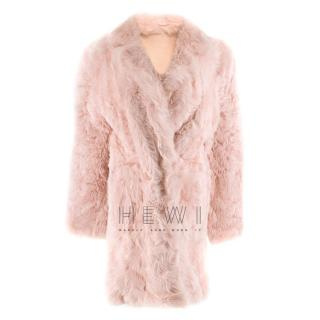 DROMe Pink Double Breasted Reversible Shearling Coat