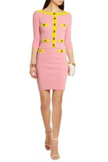 Boutique Moschino Pink & Yellow Knit Skirt Suit