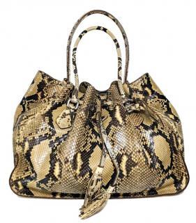 Prada Beige Python Drawstring Top Handle Bag