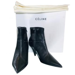 Celine Black Leather Cone Heel Ankle Boots