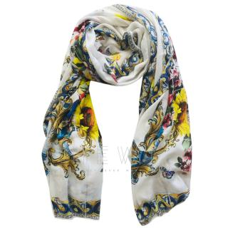 Dolce & Gabbana Cashmere Blend Vase Print Wrap Shawl