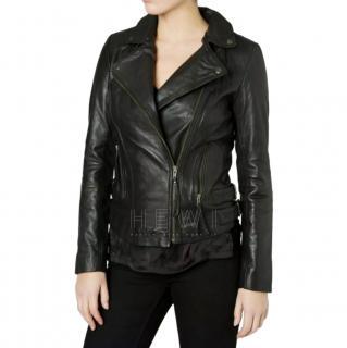 Muubaa Black Leather Biker Jacket
