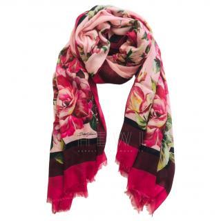Dolce & Gabbana Pink Rose Print Cashmere Blend Shawl
