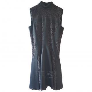 Alexander McQueen High Neck Lace Panelled Skater Dress
