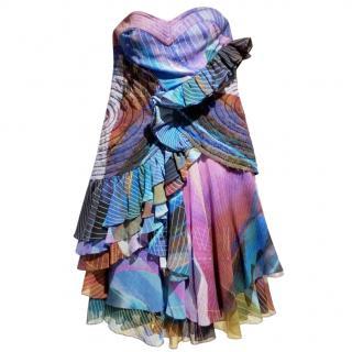 Matthew Williamson Multi-Print Embellished Strapless Mini Dress