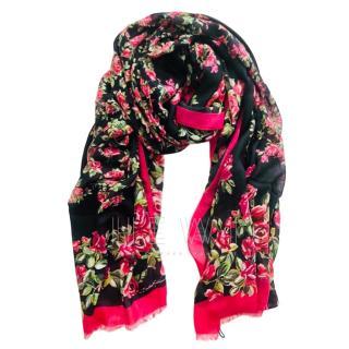 Dolce & Gabbana Cashmere Blend Rose Print Wrap Shawl