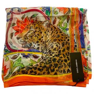 Dolce & Gabbana Sicily Leopard Print Silk Wrap Scarf
