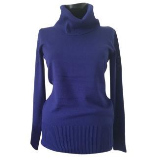 Max Mara Blue Wool Roll Neck Sweater