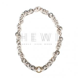 Tiffany & Co. Silver & Yellow Gold Vintage Circle Link Necklace