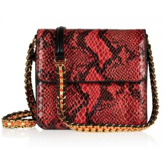 Stella McCartney Grace Crossbody Bag in Red Faux Snakeskin