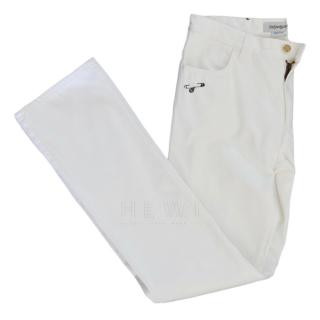 Yves Saint Laurent  men's white boot leg jeans