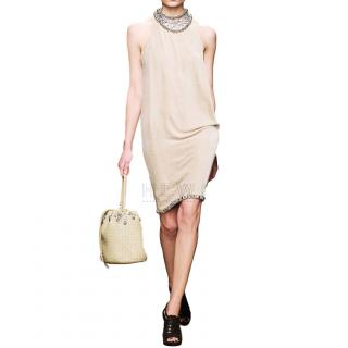 Bottega Veneta Beige Velvet Chain Draped Low Back Embellished Dress