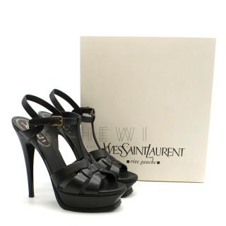 Saint Laurent Black Leather Tribute Sandals