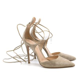 Gianvito Rossi Nude Suede Lace-Up Pumps