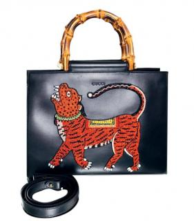 Gucci Limited Edition Nymphaea Tiger Bamboo Handle Tote