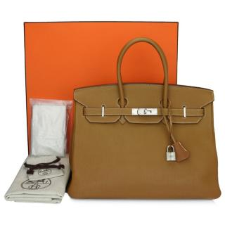 Hermes Togo Leather Gold 35cm Birkin Bag