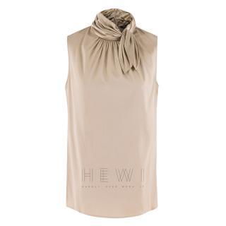 St John High Neck Scarf Tie Silk Sleeveless Blouse