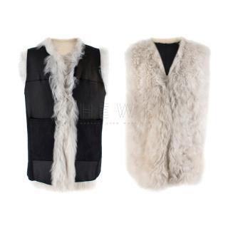 Ann Demeulemeester Fur Leather Sleeveless Reversible Jacket
