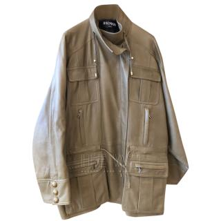 Balmain Taupe Oversize Leather Coat