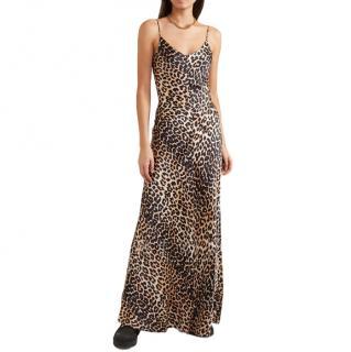 Ganni Leopard-print stretch-silk satin maxi dress