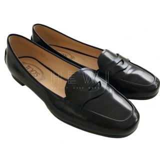 Tod's Black Patent Mocassin Loafers