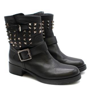 Valentino Black Leather Rockstud Biker Boot