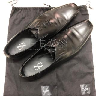 Ermenegildo Zegna Black Leather Lace-Up Oxfords