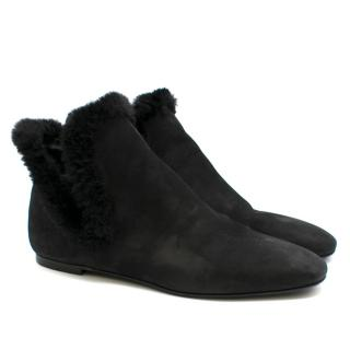 The Row Eros Shearling-Trimmed Nubuck Ankle Black Boots