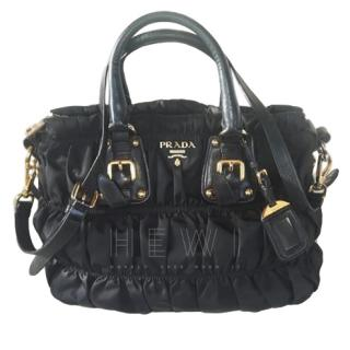 Prada Black Nylon Gaufre Ruched Medium Bag