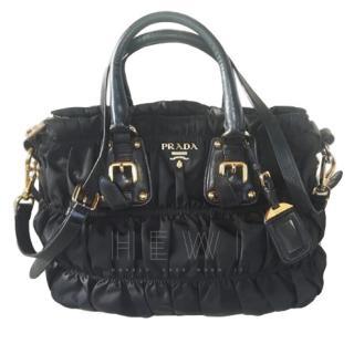 Prada Black Nylon Gaufre Ruched Medium Bag