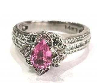 Bespoke pink pear shaped sapphire and white sapphire white gold ring