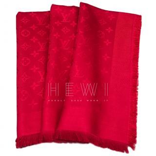Louis Vuitton Red Silk & Wool Shine Shawl