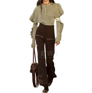 Chloe Ruffled Metallic Ribbed Stretch Silk-Blend Sweater