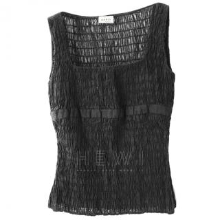AKRIS Black Smocked Sheer Sleeveless Top