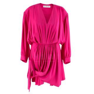 Balenciaga Pink Georgette Silk Draped Dress