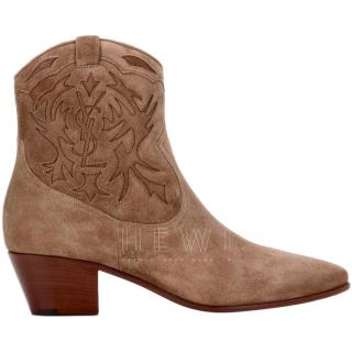 Saint Laurent Suede New Cigar Rock Ankle Boots